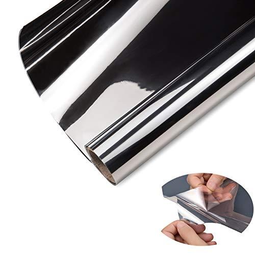 ZJELKY Folie Fenster Verdunkelungsfolie Fensterfolie Spiegel Tönungsfolie Kratzfest Wärmeisolierung UV-Schutz Silber (90 x 210 cm)