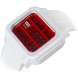 Levi's Unisex Red Digital Dial White Rubber Strap LCD Watch LTI0102