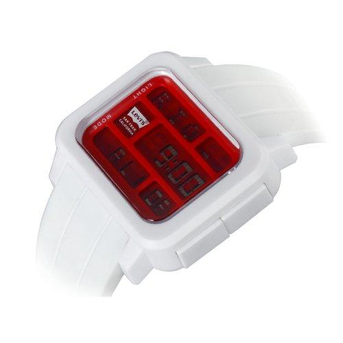 Levi's unisex rote LCD Digitaluhr weißes Kautschuckarmband LTI0102