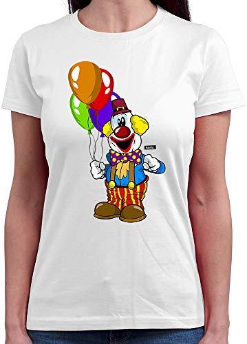 HARIZ  Damen T-Shirt Rundhals Clown Luftballons Fröhlich Karneval Kostüm Inkl. Geschenk Karte Weiß M