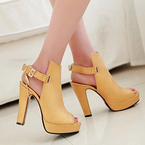 Oasap Women's Peep Toe Platform Slingback High Heels Sandals yellow
