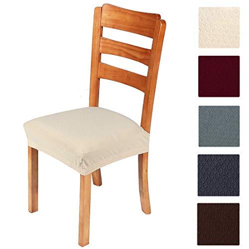 Smiry, coprisedia elasticizzato, per sala da pranzo e ufficio, in tessuto jacquard, beige-1, dining*4 (pack of 4)