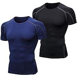 Niksa 2 Piezas Camisetas de Fitness Compresión Ropa Deportiva Manga Corta Hombre para Correr, Ejercicio,Gimnasio Negro Gris+ Azul Marino 1053(M)