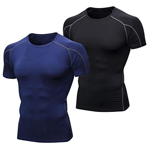 Niksa Funktionsshirt Herren Kurzarm Langarm 2 Stück Kompressionsshirt Männer Laufshirt Sportshirt mit Rundhalsausschnitt Fitness XXL -