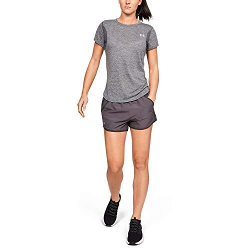 Under Armour Damen ultraleichte und atmungsaktive Sporthose, schnelltrocknende Kurze Hose für Frauen mit Loser Passform Fly by Short, Grau, XS (Armour Under Slip Leichte)