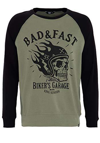 King Kerosin Raglan Sweater mit coolem Front Druck Bad & Fast Herren Rundhals Langarm Sweater Casual...