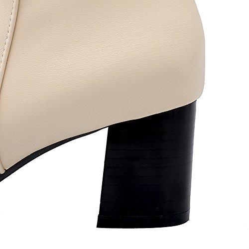 AgooLar Damen Rein Rund Zehe Blend-Materialien Stiefel Cremefarben-Verzierung
