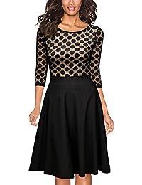 Miusol Damen Elegant Abendkleid Vintag 50er Kleider mit Polka Dots Spitzen Partykleid 3/4 Arm Knielang Rockabilly Kleid Schwarz Gr.S-3XL