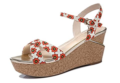 Guciheaven Women's Enticing Fabric Printed Flower Wedges