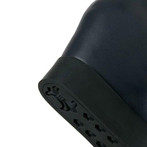 VogueZone009 Damen Reißverschluss Mittler Absatz Pu Leder Rein Niedrig-Spitze Stiefel Blau