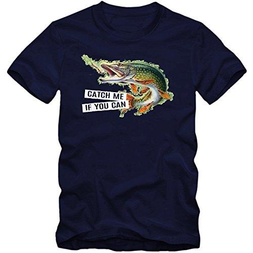 Catch Me Hecht T-Shirt | Herren |Angelshirt |Angler | Fischen | Fishing Shirt, Farbe:Dunkelblau (French Navy L190);Größe:XL (Angeln T-shirt Zander)