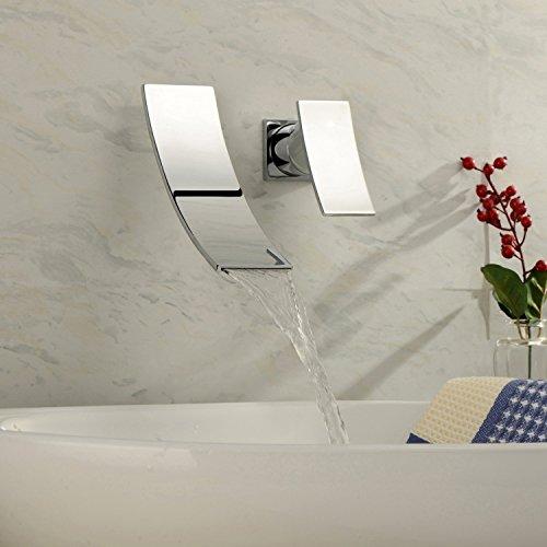 Contemporanea finitura cromata cascata montaggio a parete in acciaio inox lavandino rubinetto del