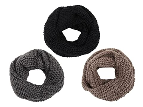 Lot de 3 Écharpes tube Snood tricoté (SCH-02 a,b,e) hyper chaude et pratique couleurs: noir, gris foncé et marron.Promotion boucle agréable. la tendance de cette année très à la mode cet hiver idée de cadeau pour noel femme fille ho