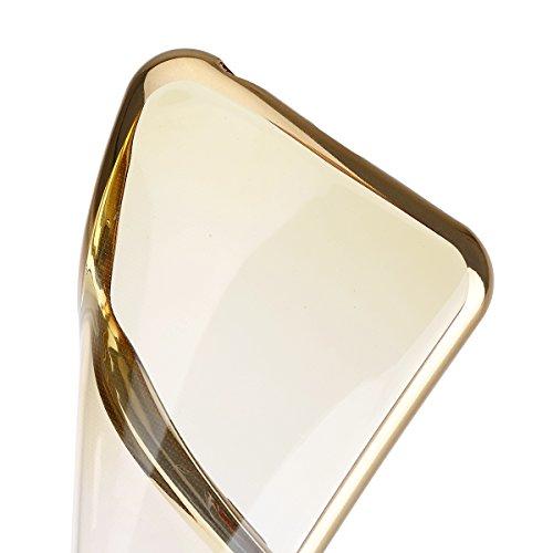 Ukayfe iphone 6/6S Copertura, confine di placcatura Design Crystal Clear diamante di Bling Custodia Ultra Slim Morbido TPU Gel Silicone Trasparente Protettivo Skin Protettiva Shell Case Cover per ipho oro&giallo