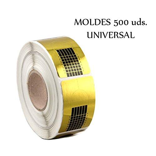 Moldes 500uds Dorados uñas / 1 x Rollo 500 Moldes