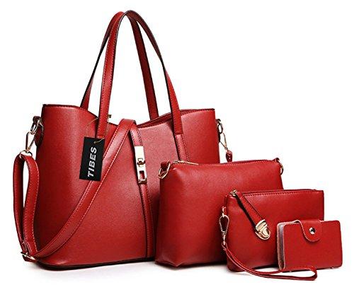 Tibes PU cuir sac à main + épaule de sac de femmes de la mode + porte-monnaie + carte 4pcs mis Vin rouge