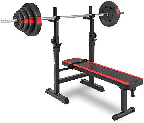 Hop-Sport klappbare Hantelbank Kraftstation 1080 mit Langhantel Set Stange Gewichte 30/60/90 kg zur Wahl (60kg Gewicht + Langhantel)