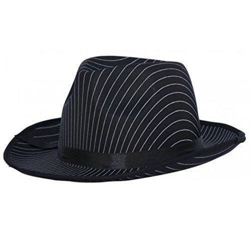 Eleganter Gangsterhut in schwarz mit weißen Streifen