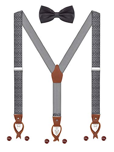 Herren Hosenträger Fliege Set 2 WAY TO WEAR 6 Leder Knopfloch 3 Clips Y-Form 3,5cm Breit Verlängerte Hosenträger für Körpergröße 160-200cm - Weiß Schwarz Paisley