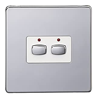 Energenie MIHO072 Alexa Compatible MiHome 2-Gang Light Switch, 240 V, Chrome