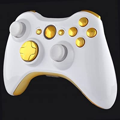 Official Xbox 360 Wireless Controller - Piano White with Gold Buttons