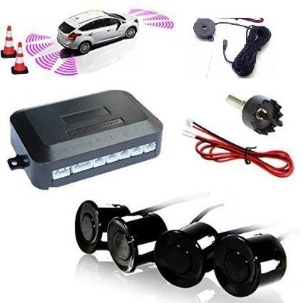 Kit 4 sensori di parcheggio auto furgoni camper neri verniciabili manuale in italiano con cicalino acustico