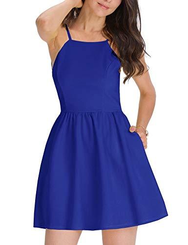 FANCYINN Kleider Damen Ärmelloses Spaghetti-Armband A-Linien Kurze Kleider Damen Casual Strandkleider Blau S(34-36)