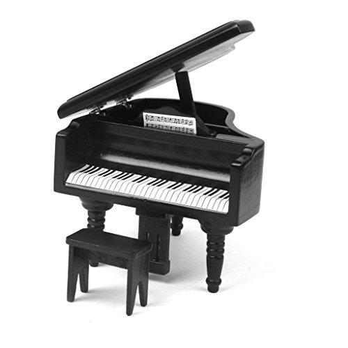ZHJZ Mini Piano Form für Puppenhaus Miniatur Klavier und Hocker (schwarz)