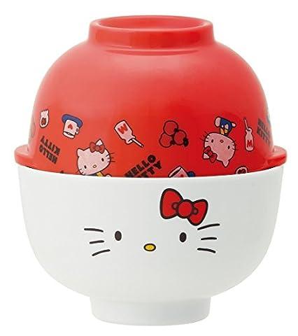 Skater Sanrio Hello Kitty Bol à riz en mélamine et bol à soupe Lot Mcw1