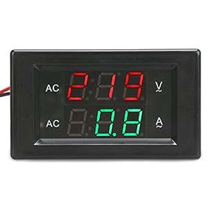 DROK® AC 300V 50A digitale voltmetro, YB4835VA 2 fili Tensione Corrente Testing Meter, LED di corrente Tester di tensione con Red / Display colore verde Dual e errori incorporato in Trimmer potenziometro