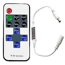 Jindia Mini RF Fernbedienung für Einfarbige LED Streifen, RF Dimmer Drahtlose Controller für alle Dimmbare 5050 3528 LED Band LED Lichtstreifen