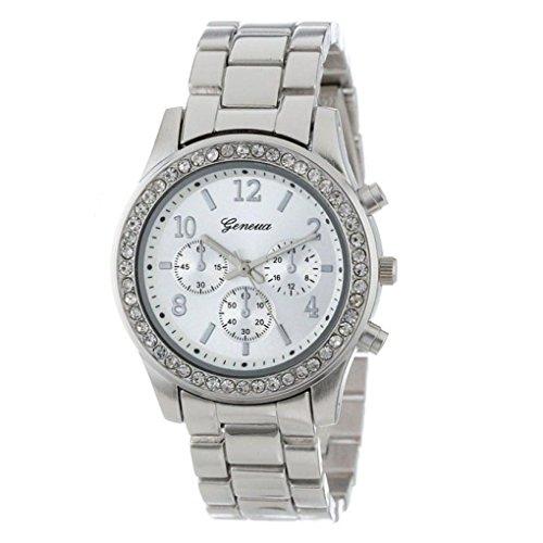 Sonnena Damen Armbanduhren, Mode Kristall Analoge Quarz Armbanduhr Metallband Damenuhr Uhren Frauen Überzogener Klassiker Runden Zifferblatt Armband Uhr Wrist Watch (Silber)