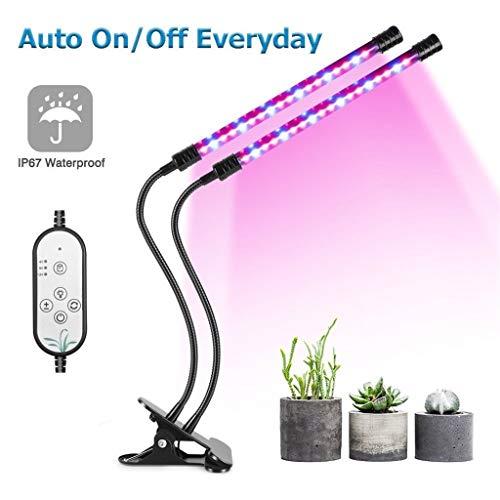 G-DJLXYDP Pflanzenwachstumslampe Led-Clip ZweiköPfiges Pflanzenlicht 18w27w Vollspektrum-Pflanzentischlampe Geeignet FüR Zimmerpflanzen Verstellbarer Schwanenhals(Inklusive Adapter)