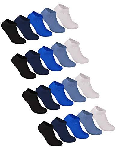 Sockenschuss 10 | 20 | 30 Paar Sneaker Socken Damen & Herren Schwarz & Weiß - Lange Haltbarkeit Dank Bester Qualität der Baumwolle (20x Blau-Mix, 43-46)