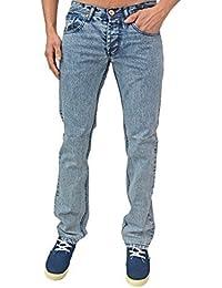 Homme Design Zico Jeans Coupe Slim Rétro Indie Jeans 2 Couleurs SOLDE - Neige Bleu Délavé, Tour de taille 76cm - longueur 86cm