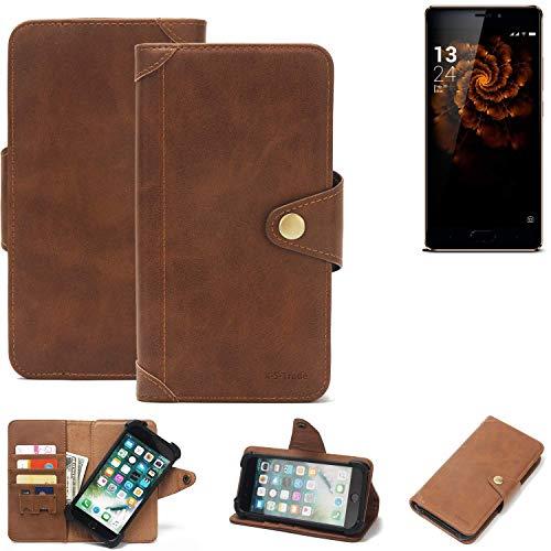 K-S-Trade Handy Hülle für Allview X3 Soul Pro Schutzhülle Walletcase Bookstyle Tasche Handyhülle Schutz Case Handytasche Wallet Flipcase Cover PU Braun (1x)