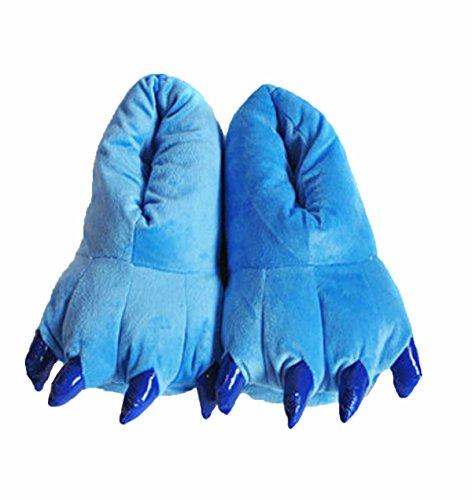 Nette Kostüm Günstige - Plüsch Hausschuhe Dinosaurier-Palme Pantoffeln Tierhausschuhe für Herren und Damen M Blau