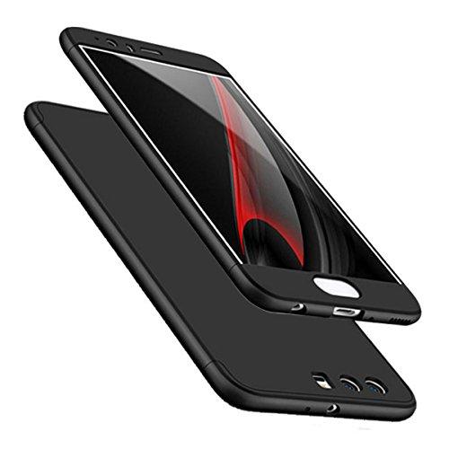 "Huawei P10 Cover, Custodia Huawei P10 360 Gradi Ultra Sottile Cassa 3 in 1 Duro PC Case Rigido Elegante Shock-Absorption e Custodia per Huawei P10/ P10 Plus (Huawei P10 5.1"", Nero)"