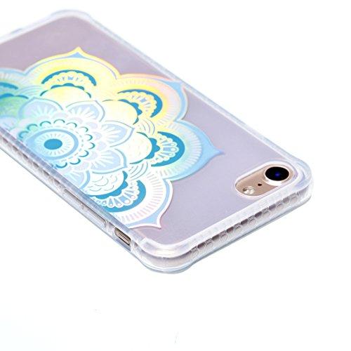 iPhone 8 Schutzhülle, iPhone 7 Transparent Case Rosa Schleife Ultra Dünn Premium TPU Softcase Silikon Hülle Mandala Bunte Plating Muster Durchsichtig Kratzfeste Handyhülle Bumper Schale für iPhone 8 / Blau Mandala