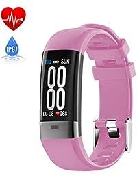 SUNSUNNY Fitness-Tracker, intelligentes Armband mit Zwei Herzfrequenz-Blutdruckmessgeräten EKG-Wiedergabe mit Schlaferkennung Ip67 wasserdicht für Android oder IOS,Pink
