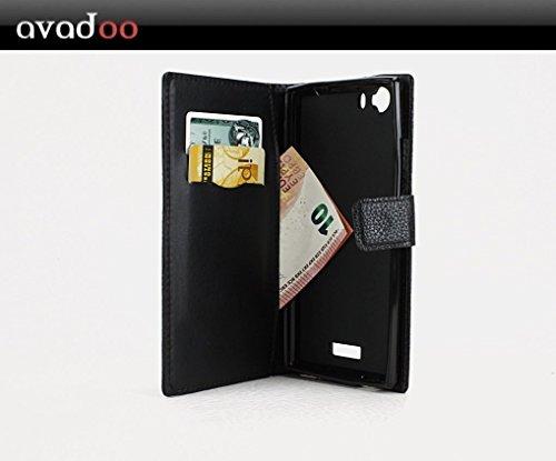 avadoo® Wiko Ridge FAB 4G Hülle Flip Leder Case Cover Tasche in Schwarz im Buch Book Design - Avadoo® Ledercase mit verstärkter Naht und spezial Kartenschacht mit Magnetverschluss als Cover Tasche Schutzhülle