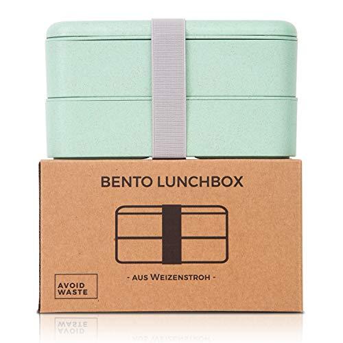 avoid waste Nachhaltige Lunchbox ♻ Die Premium Aufbewahrungsbox mit Deckel und Besteck im Bento-Box Stil mit Zwei Fächern. Biologisch abbaubar, plastikfrei, BPA frei, auslaufsicher - 4