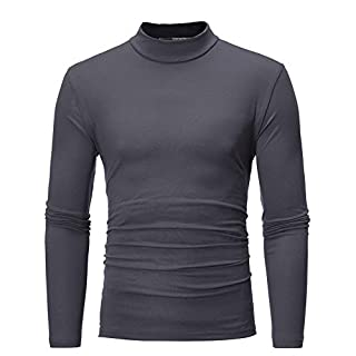 Anglewolf Men's Autumn Winter Pure Color Blouse Turtleneck Top Long Sleeve T-Shirt Casual Sweatshirt Round Neck Sweater for Men Slim Fit Jacket Business Clothes Thicker Overcoat(Dark Gray,XL)