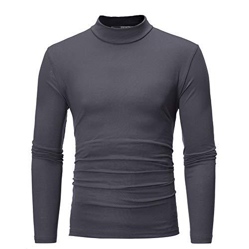Yvelands Herren T-Shirt Sweatshirt Herbst Winter Reine Farbe Rollkragen Langarm T-Shirt Top Bluse(EU-48/L,DunkelGrau)