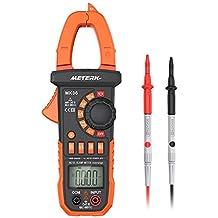 Meterk Pinza Multímetro para medida amperímetro ohmímetro con corriente y voltaje CA/CC, 4000 cuentas, ciclo de trabajo, prueba de diodo, auto o manual alcance