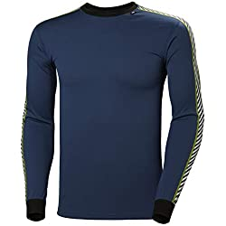 Helly Hansen LIFA Dry Stripe Crew Thermal Baselayer Camiseta Deportiva Manga Larga, Hombre, North Sea Blue, M