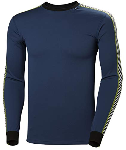 Helly Hansen LIFA Dry Stripe Crew Thermal Baselayer Camiseta Deportiva Manga Larga, Hombre, North Sea Blue, L
