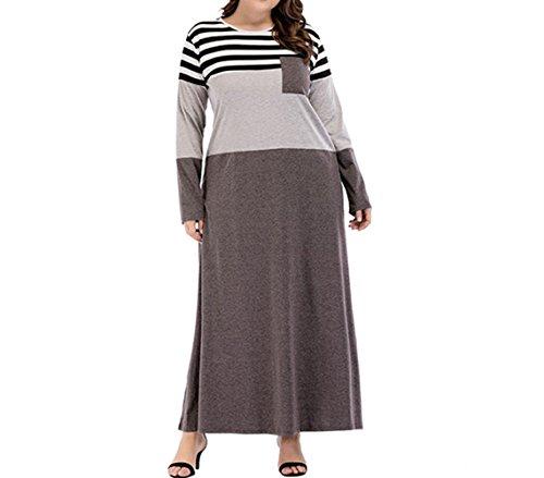 sche Frauen Plus Size Langarm Rundhals Casual Streifen Maxi Kleid Tasche Patch Arabisch Kaftan Party Kleid ()