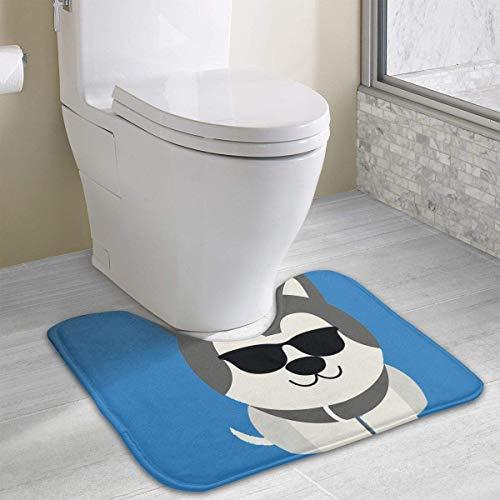 Hoklcvd Siberian Husky Coole Sonnenbrille Rutschfeste Kontur Badematte für WC, saugfähiges Wasser, perfekt für Badezimmer. Kaufen Sie online Badematten zu den besten Preisen