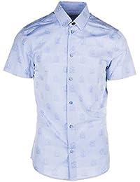 Versace Jeans camisa de mangas cortas hombre nuevo easy slim blu